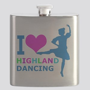 I LOVE highland dancing pink blue green purp Flask