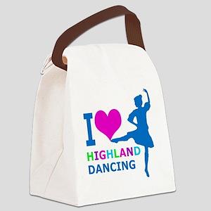 I LOVE highland dancing pink blue Canvas Lunch Bag
