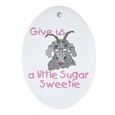 Old Lady Goat Valentine Oval Ornament