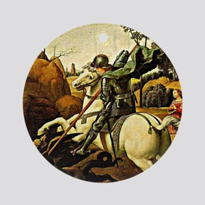 Saint George and the Dragon, painti Round Ornament