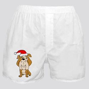 English Bulldog in Santa Claus Hat Boxer Shorts