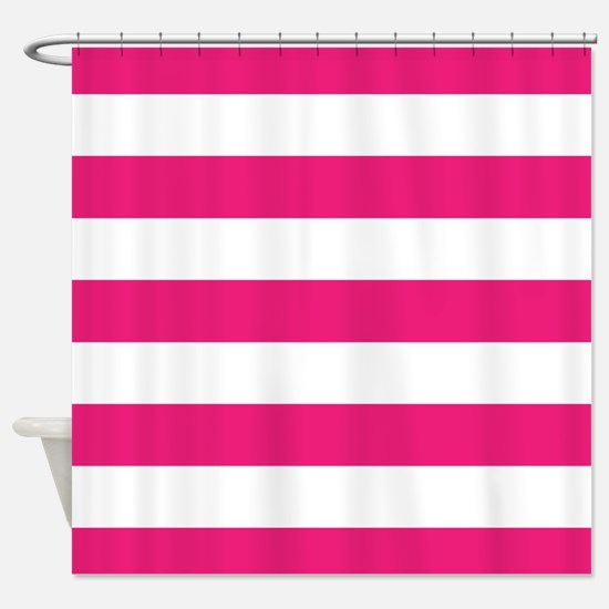 Hot pink and white stripe Shower Curtain