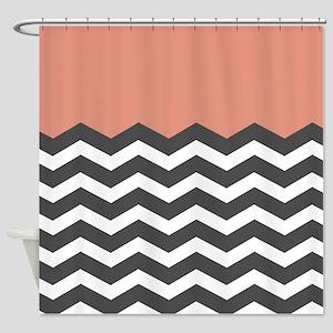 Coral Black White Chevron Shower Curtain