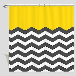 Yellow Black White Chevron Shower Curtain