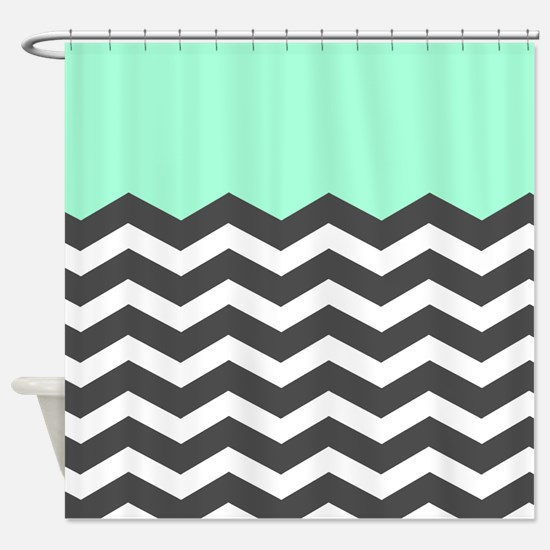 Mint Black White Chevron Shower Curtain