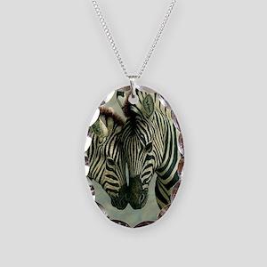 Zebras Necklace Oval Charm