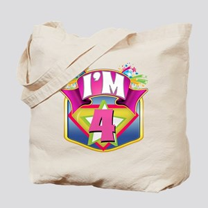 Pink Super Hero 4th Birthday Tote Bag