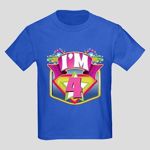 Pink Super Hero 4th Birthday Kids Dark T-Shirt