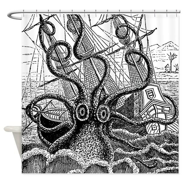 Kraken Attack Shower Curtain By InspirationzStore