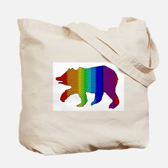 MOSAIC RAINBOW WALKING BEAR Tote Bag