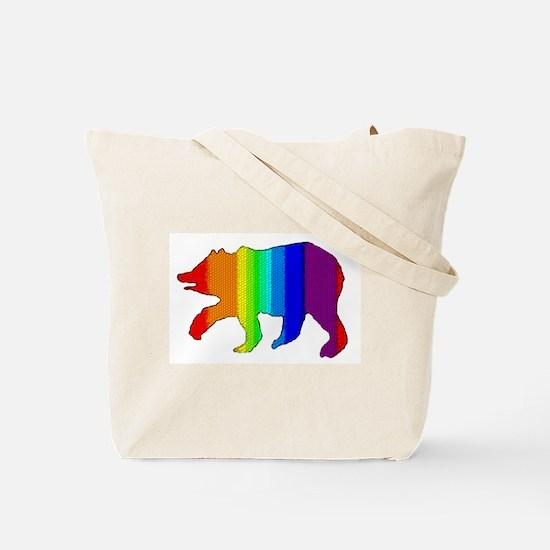 DIMPLED RAINBOW WALKING BEAR Tote Bag