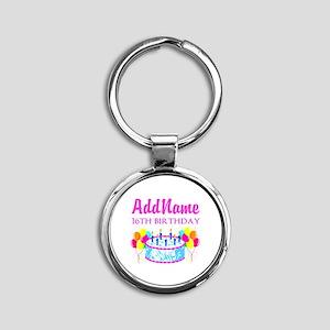 16TH BIRTHDAY Round Keychain