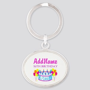 16TH BIRTHDAY Oval Keychain