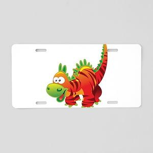 Red Striped Dinosuar Aluminum License Plate