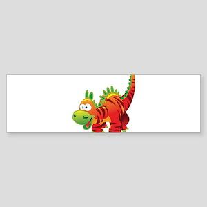 Red Striped Dinosuar Bumper Sticker