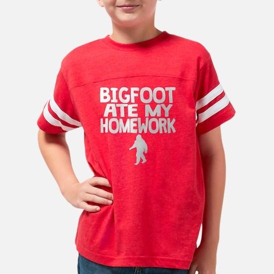 Bigfoot Ate My Homework Youth Football Shirt