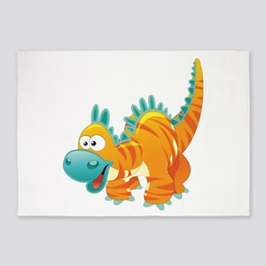 Orange Striped Dinosaur 5'x7'Area Rug