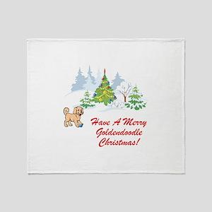 Goldendoodle Christmas Throw Blanket
