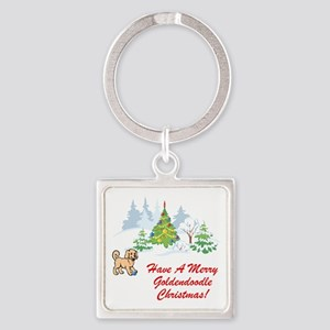 Goldendoodle Christmas Square Keychain