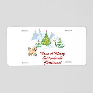Goldendoodle Christmas Aluminum License Plate