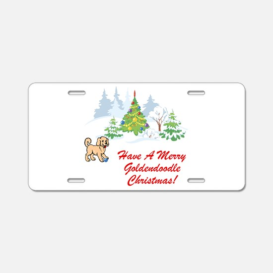 Goldendoodle Christmas Aluminum License Plate