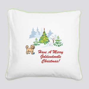 Goldendoodle Christmas Square Canvas Pillow