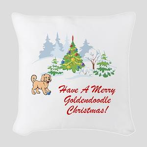 Goldendoodle Christmas Woven Throw Pillow