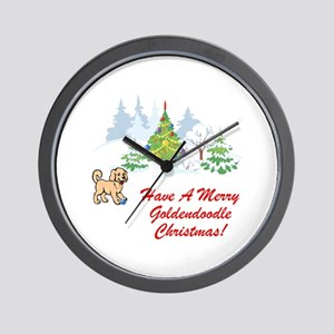 Goldendoodle Christmas Wall Clock
