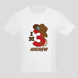 Cowboy 3rd Birthday Personalized Kids Light T-Shir