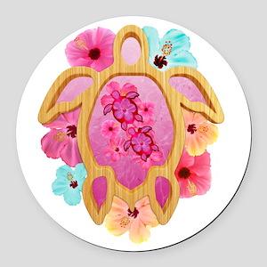 Hawaiian Pink Honu Round Car Magnet