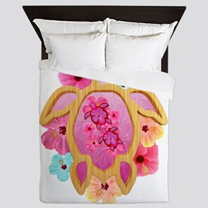 Hawaiian Pink Honu Queen Duvet