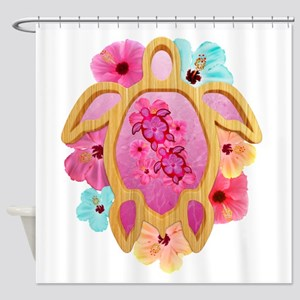 Hawaiian Pink Honu Shower Curtain