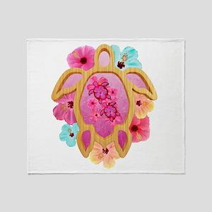 Hawaiian Pink Honu Throw Blanket