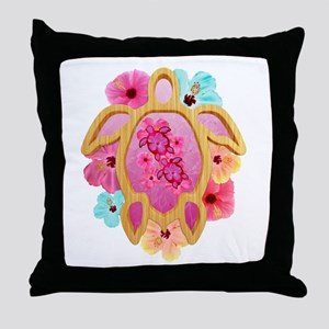 Hawaiian Pink Honu Throw Pillow