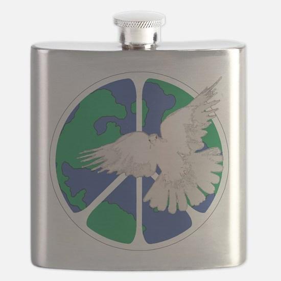 Peace Sign & Dove Flask