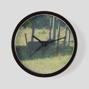 angus cow & calf Wall Clock