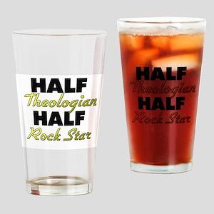 Half Theologian Half Rock Star Drinking Glass