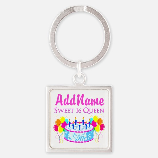 SWEET 16 QUEEN Square Keychain