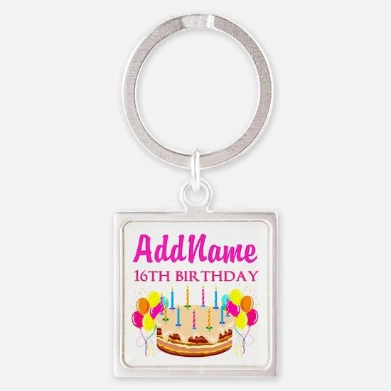 16TH BIRTHDAY Square Keychain
