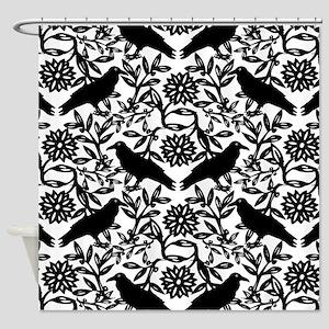 Raven Pattern Shower Curtain