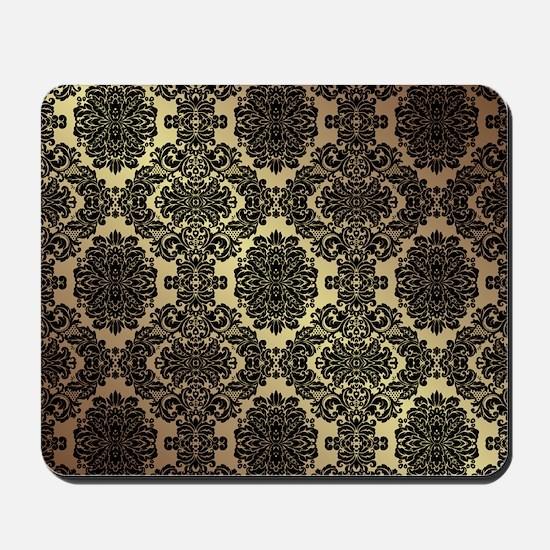 Black & Gold Damask Mousepad