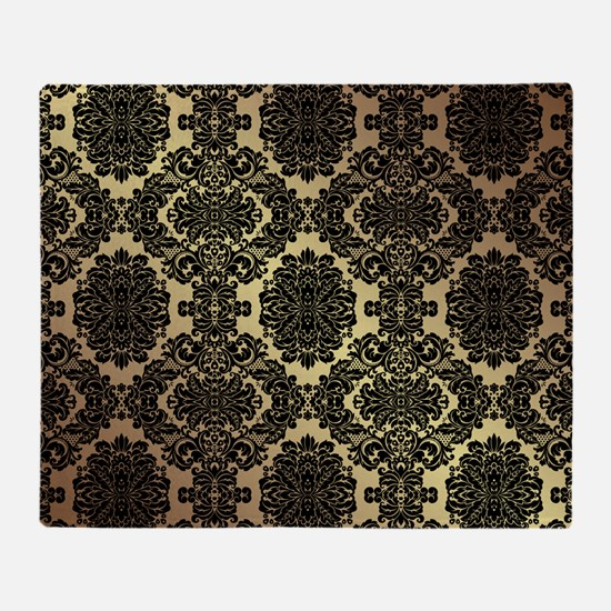 Black & Gold Damask Throw Blanket