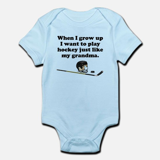 Play Hockey Like My Grandma Body Suit