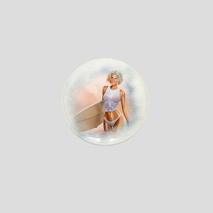 Sexy Surfer Girl Mini Button