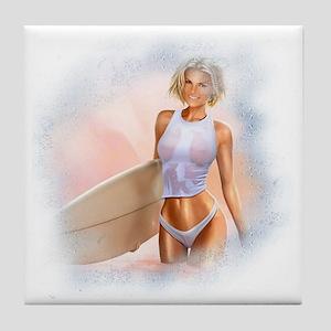 Sexy Surfer Girl Tile Coaster