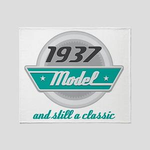 1937 Birthday Vintage Chrome Throw Blanket