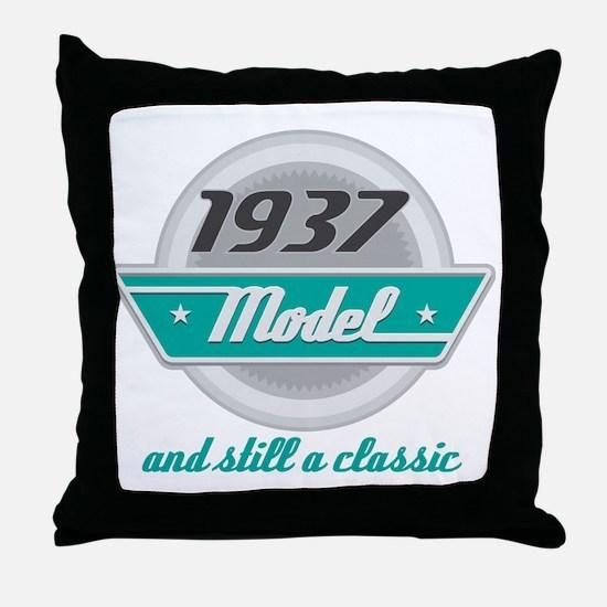 1937 Birthday Vintage Chrome Throw Pillow