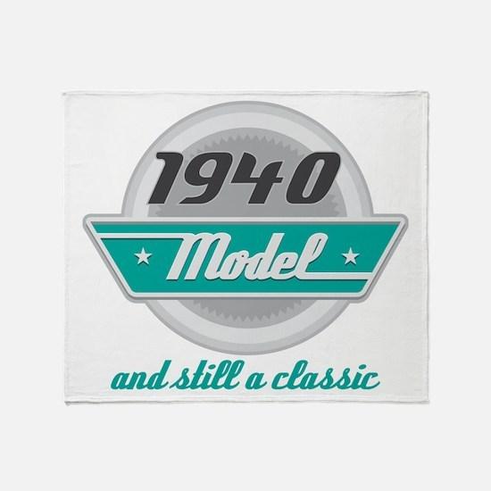 1940 Birthday Vintage Chrome Throw Blanket