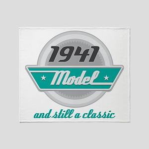 1941 Birthday Vintage Chrome Throw Blanket