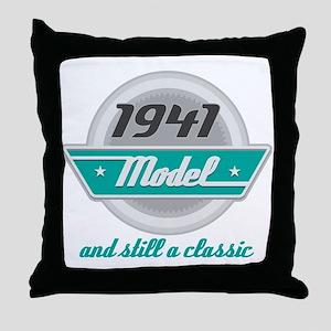 1941 Birthday Vintage Chrome Throw Pillow